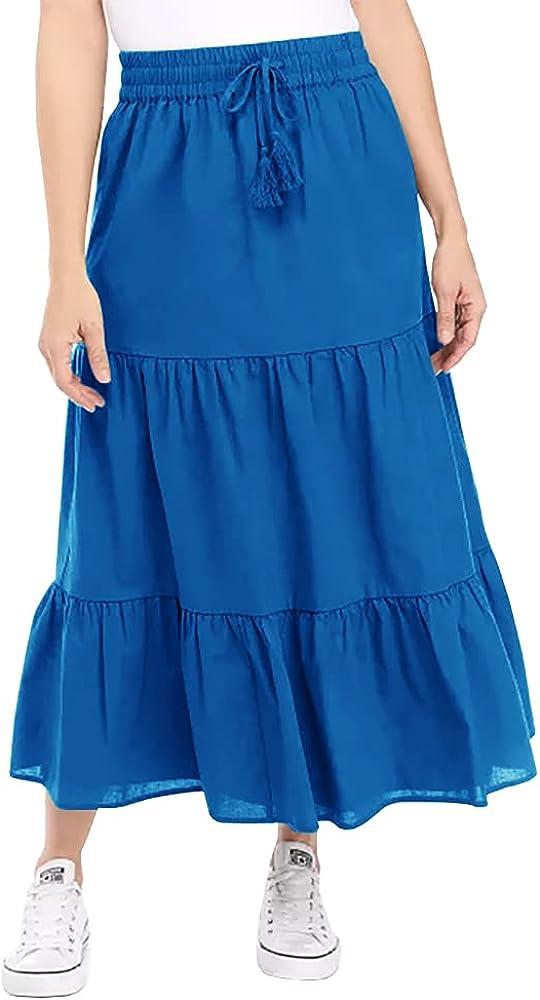 Zeraly Women's A Line Tiered Midi Skirt Ruffle Swing High Waisted Drawstring