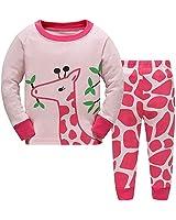 Girls Long Sleeve Pajamas, Children 100% Cotton Animal Pjs Set 2 Piece Sleepwear Pink 2-3T