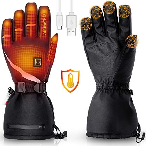 AMBOTHER USB Heated Gloves for Men Women Rechargeable Lithium Battery 3M Waterproof Temperature Settings Winter Electric Heated Motorcycle Gloves Ski...