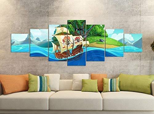 Foto de 7 piezas para niños con barco pirata, 280 x 100 cm.