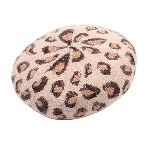 WXDP Sombrero a Prueba de Viento,Moda Mujer de Mujer Otoño e Invierno Conejo Patrón de Leopardo Boina Mujer Retro Personalidad de la Moda Puerto Painter de Mujer Suave (Color: Marrón)