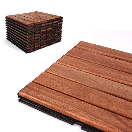 Deck Tiles - Patio Pavers - Acacia Wood Outdoor Flooring - Interlocking Patio Tiles - 12'x12' (6 Pack) - Oiled Acacia Finish - Straight Pattern Decking