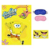 Spongebob Party Games, Pin The Mounth on Spongebob, 36 PCS Nose Stickers for Boys Girls Frozen Theme Party Birthday Gifts