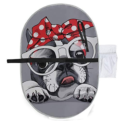 Französische Bulldogge Porträt Stirnband Brille Wickelauflage Mat Wickeltisch Pad 27 x 10 Zoll wasserdicht faltbare Matte Baby tragbare Wickelstation Kleinkind Windel Wickelauflage