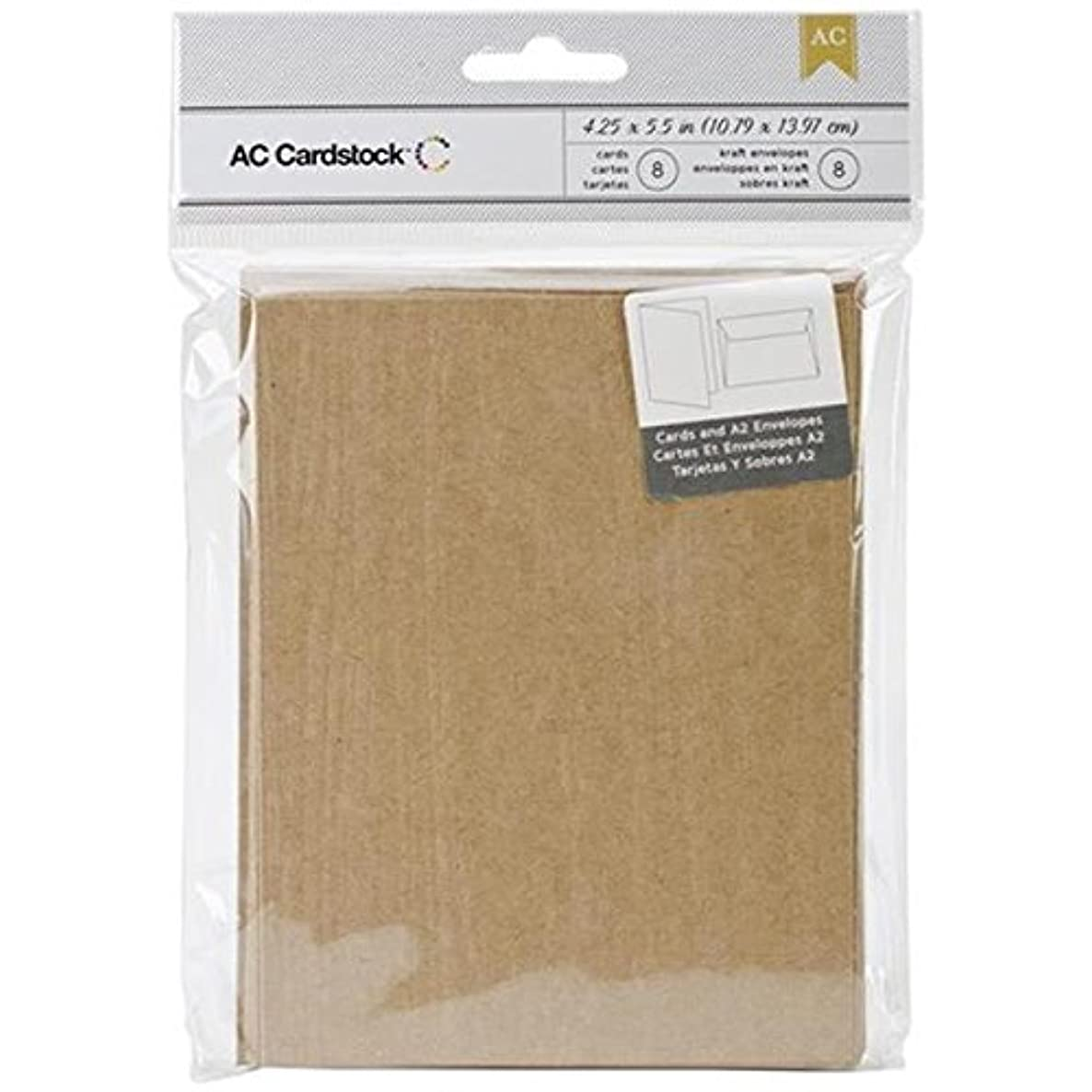 American Crafts Embossed Kraft Cards and A7 Envelopes for Scrapbooking, 4.25 by 5.5-Inch, Wood Grain