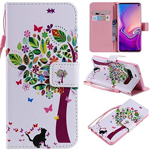Miagon Flip PU Leder Schutzhülle für Samsung Galaxy S10,Bunt Muster Hülle Brieftasche Case Cover Ständer mit Kartenfächer Trageschlaufe,Katze Baum