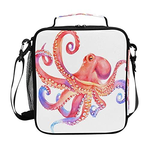 Bolsa de almuerzo Octopus Animal Ocean aislada almuerzo portátil correa de hombro bolsa enfriadora para niños niñas mujeres hombres