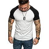Deportiva Camisa Moda Empalme Slim Fit Hombre Funcional Shirt Verano Básico Cuello Redondo Manga Corta Camiseta Casual Secado Rápido Hombre Masculina Shirt C-White XXL