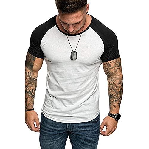 T-Shirt Herren Sommer Klassisch Spleißen Rundhals Herren Sportshirt Basic Slim Fit Kurzarm Muskelshirt Casual Komfortabel Atmungsaktives Laufshirt C-White XL