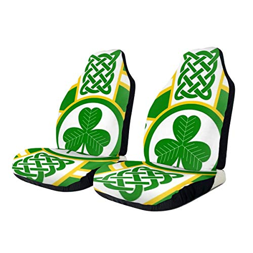 FDGJNB Green Shamrock Ireland Celtic Cross Irish Flag Car Seat Cover Protector Cushion Premium Covers for Women, Men, Girls, Boys Fits Most Cars, Truck, SUV Or Van