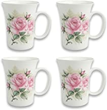 Gracie Bone China 10-Ounce Trumpet Mug, Pink Green Rose Bouquet, Set of 4