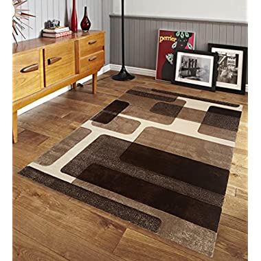 Renzo Collection Easy Clean Stain and Fade Resistant Luxury Brown Area Rug for Bedroom Kitchen Dining Living Room, Modern Geometric Lines Space Design with Jute Backing (Size 5' x 7' Feet)