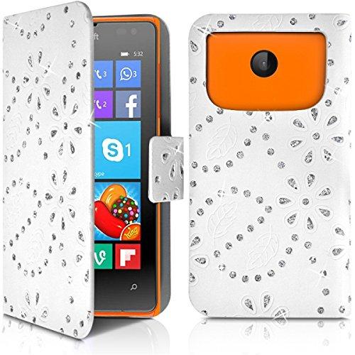Seluxion–Cover a portafoglio, motivo: diamante universale S Colore Bianco per Nokia Lumia 532