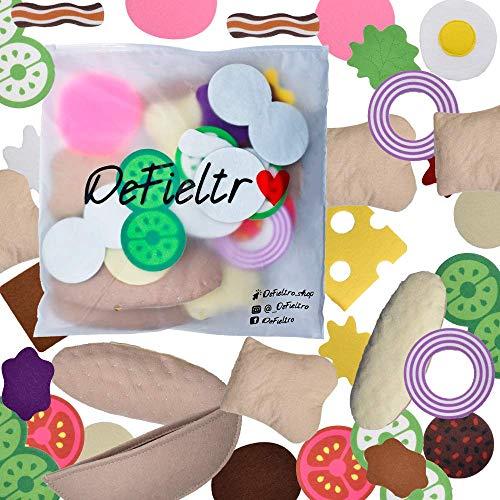 DeFieltro Alimentos de Fieltro - Set Comida Juguete - Comidas Juguetes Surtido Montessori - Alimentos Falsos