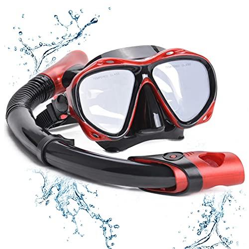 YLJXXY Gafas y Tubo de Snorkel Set para Adulto, Gafas y Máscaras de Buceo Panorámico de Cristal Templado Equipo de Buceo Kit de Snorkel para Mujeres Y Hombres