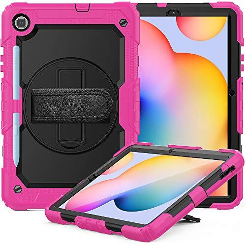 FAN SONG Funda para Samsung Galaxy Tab S6 Lite 2020 10,4 Pulgadas, Carcasa Resistente con Soporte y Correa de Mano [360 Grados de Rotacion] Bandolera para Galaxy Tablet SM-P610/P615-Rosa Roja