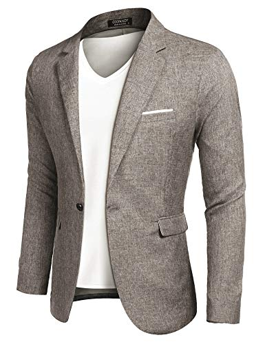 MAXMODA Men's Blazer Slim Fit Jacket with Front Pocket Sporty Jacket Leisure Suit, XL, Khaki