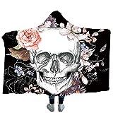 Decke mit Kapuze Halloween Totenkopf Kuscheldecke Skull Blumen Wohndecke Winter Weiche Warme Kapuzendecke Tagesdecke Sofadecke für Erwachsene Kinder 1 150x200cm