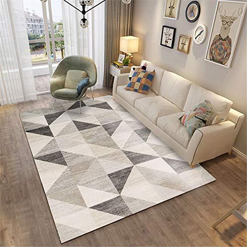 Kunsen Alfombra meditacion alfombras Sala de Estar Dormitorio Alfombra Gris geométrico Moderno Suave Antideslizante Alfombra para niños 140X200CM 4ft 7.1' X6ft 6.7'