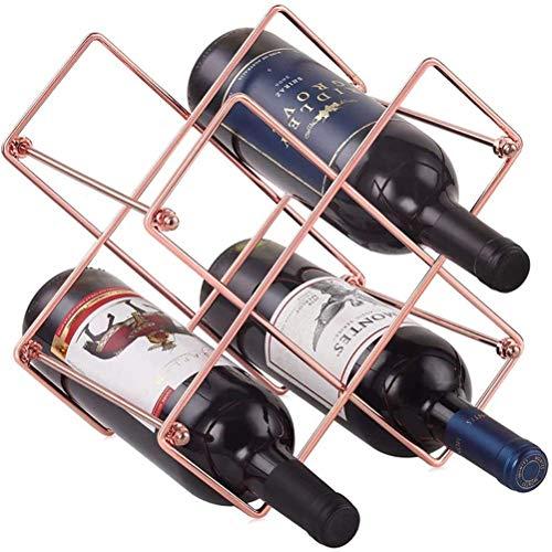 zyl Estante para Vino Estante para Vino de Metal Soporte para Botellas de encimera para Vino Blanco Tinto Estante para champán Independiente para despensa Barra para el hogar (tamaño: 5 Celdas)