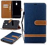 König Design Handy-Hülle Kompatibel mit Nokia 2.1 Schutz-Tasche Hülle Cover Kartenfach Etui Wallet Dunkel-Blau