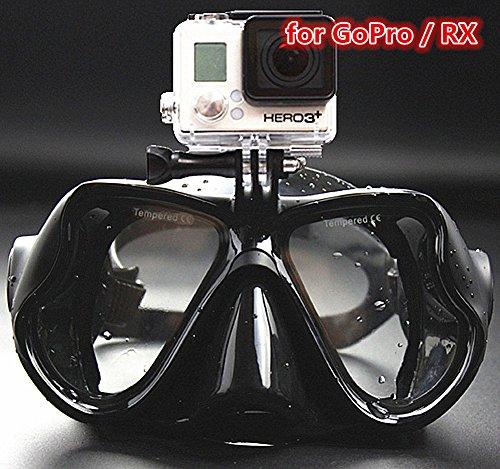 YEESAM SWIM Taucher Tauchen Maske GoPro mit Halterung Kompatibel mit GoPro Hero 1 2 3 3+ 4 Sitzung Maske Schnorchel, Schwimmen, Schnorcheln - Go pro - Klargläser oder mit Rezept Tauch Schnorchel Maske Verschreibung Sehstärke Mass Angefertigt (schwarz, -3.0)