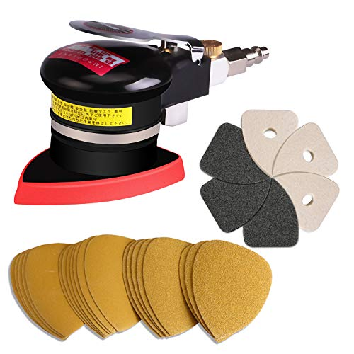 Air Sander,Air Triangular Sander Small Detail Pneumatic Sander Finishing Sander for Corner with 12Pcs Sandpapers, 3Pcs Leather Cleaning Pads, 3Pcs Felt Polishing Pads