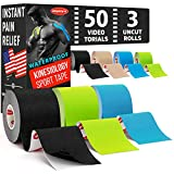 (3 Uncut Rolls) Waterproof Kinesiology Tape - Immediate Pain Relief - 16.4ft Runners Tape with Great Adhesion + 50 Video Guides - Latex Free - K Tape Roll