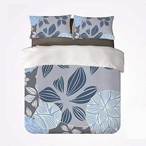 Miwaimao Bedding Bettwäsche-Set,Blume Tropische Blüten in kreisförmigen Formen...