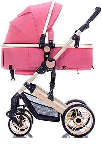 Cochecito con cochecito convertible con cochecito convertible de carro para bebé puede sentarse y acostarse para 0-3 años de edad, buggy de viaje infantil con sistema de seguridad de 5 puntos, marco d
