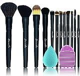 Beautia 12pcs Professional Makeup Brush Set, Natural Hair, Bonus Gift (Makeup Brush Cleaning Mat)