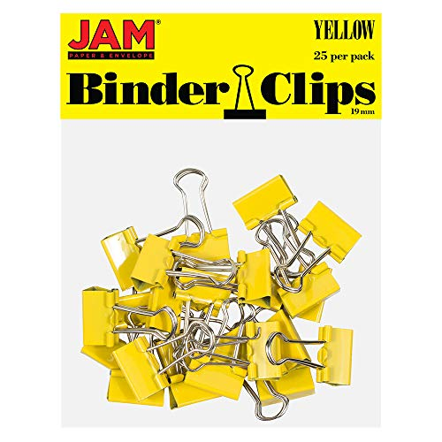 JAM PAPER Colorful Binder Clips - Small - 3/4 Inch (19 mm) - Yellow Binderclips - 25/Pack