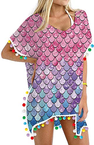 Women's Swimsuit Cover Up Mermaid Fish Scales Chiffon Rainbow Beach Bathing Suit Pom Pom Bikini Swimwear Cover-Ups