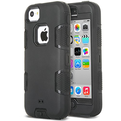 ULAK iPhone 5c Hülle, iPhone 5c Case 3in1 Stoßfest Hybrid High Impact Hart PC & Weiche Silikon Schutzhülle Tasche Case Cover für Apple iPhone 5c (Schwarz)