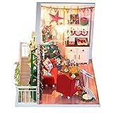DIY Cottage Puppenhaus Holz Modell Weihnachtshaus mit Beleuchtung Selbermachen Basteln
