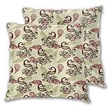 Federa decorativa per cuscino, 2 pezzi, motivo invernale con pavoni stilizzati e fiocchi di neve, motivo floreale cachemire, 50 x 50 cm, per casa, divano e camera da letto