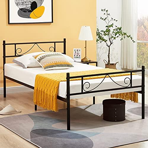 Aingoo Lit Simple en Métal Design Lit 1 Place Cadre de Lit Une Personne avec Lamelles Solides et Structure Métallique Enfant lit 90x190 cm, Noir