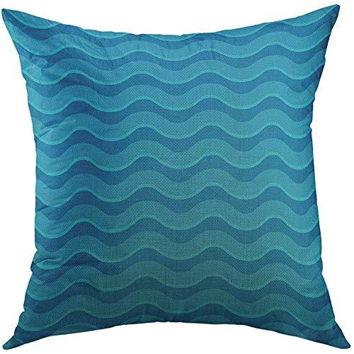 ASDEW987 - Federa per cuscino, motivo a righe ondulate, ripetibile, in colori blu acqua, a zig