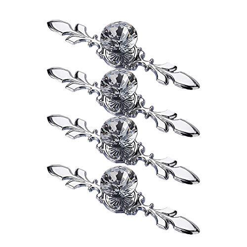 Renquen 4 stks eenvoudige transparante kristal enkele gat handvat kast lade knop marmer kristal lade Pull handvat deur dressoir meubelknoppen garderobe Silver 4 116 * 25 * 29mm