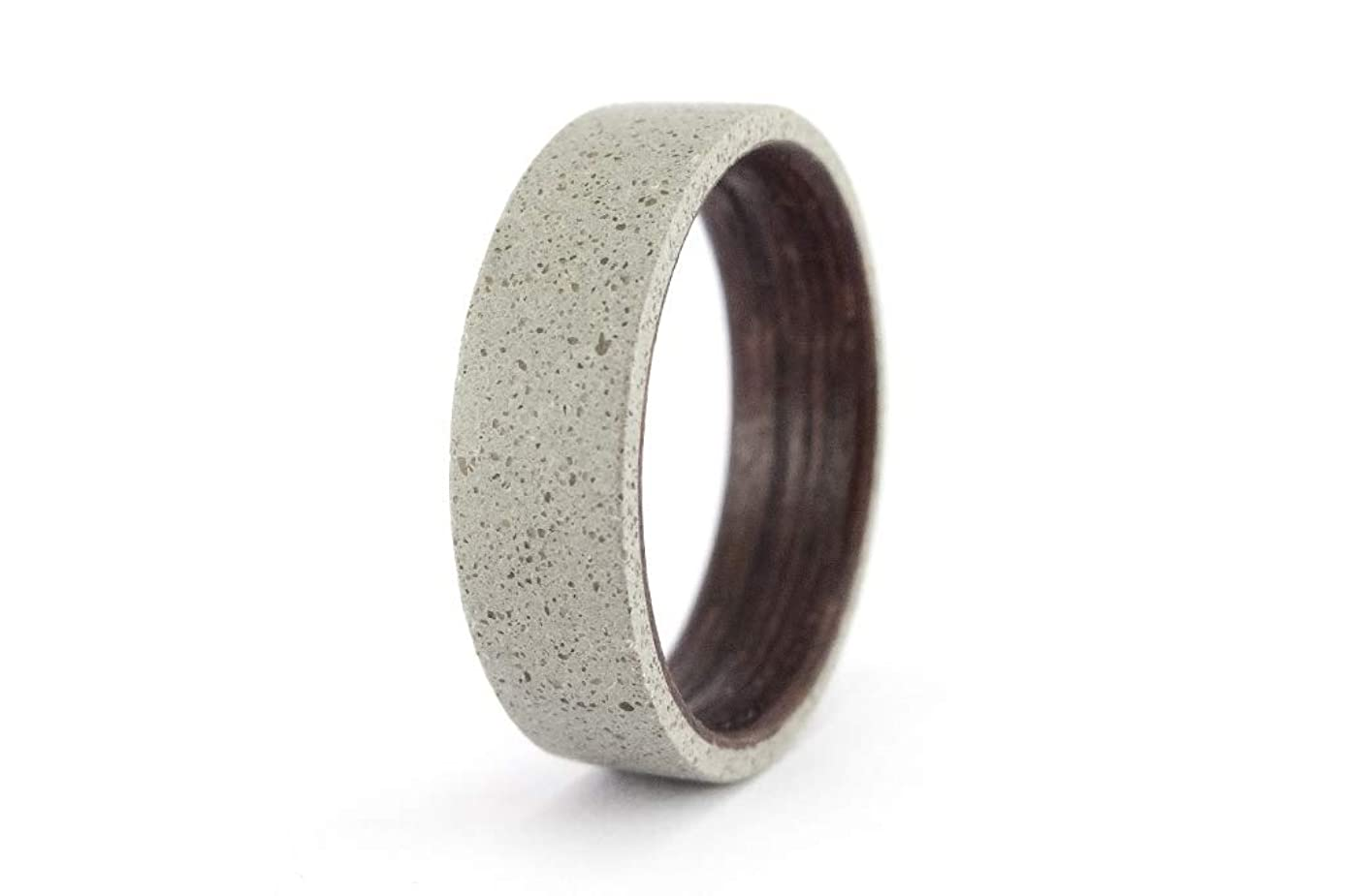 Men's gray concrete and wenge wood ring. Industrial wooden wedding band. Water resistant, very durable and hypoallergenic (00907_7N)