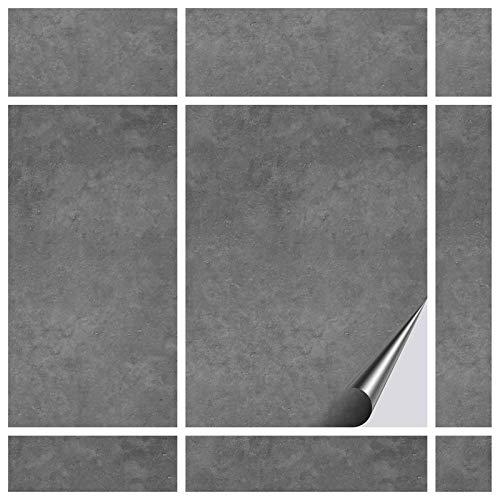 FoLIESEN Fliesenaufkleber 15x20 cm - Fliesen-Folie Bad - Klebefolie Küche - 60 Klebefliesen, Dekor Beton