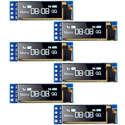 MakerFocus 6pcs I2C OLED Display Module 0.91 Inch I2C SSD1306 OLED Display Module Blue I2C OLED Screen Driver DC 3.3V~5V for Ar duino