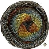 Lana Grossa Gomitolo Versione 200g Kammgarn - Bobble Wolle mit Farbverlauf und Herz Ocker-Rotbraun-Senfgelb-Türkis-Petrol