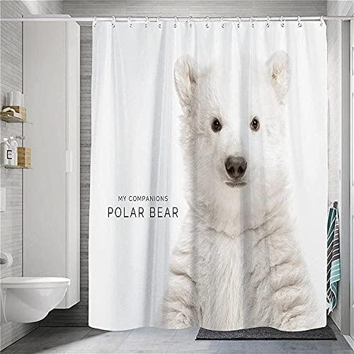 XCMMK Duschvorhang Top Qualität Wasserdicht 3D Duschvorhang Schneeweißer Eisbär mit 12 Duschvorhangringe für Badezimmer (180*180 cm)