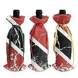 Trinidad Tobago - Juego de 3 bolsas para botellas de vino con cordones para cena, cata de vinos, fiestas, decoración de mesa