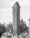 Restored Black & White Photo - Historic New York City, New York - The Flatiron Building, c1903-11in x 14in