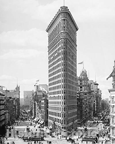 Restored Black & White Photo - Historic New York City, New York - The Flatiron Building, c1903-11in x 14in