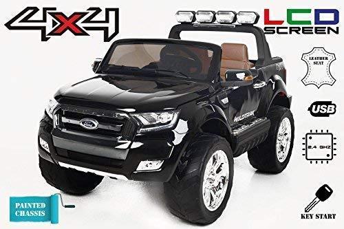 RC Auto kaufen Kinderauto Bild: RIRICAR Ford Ranger Wildtrak 4X4 LCD Luxury, Elektro Kinderfahrzeug, LCD-Bildschirm, lackiert schwarz - 2.4Ghz, 2 x 12V, 4 X Motor, Fernbedienung, 2-Sitze in Leder, Soft Eva Räder, Bluetooth*