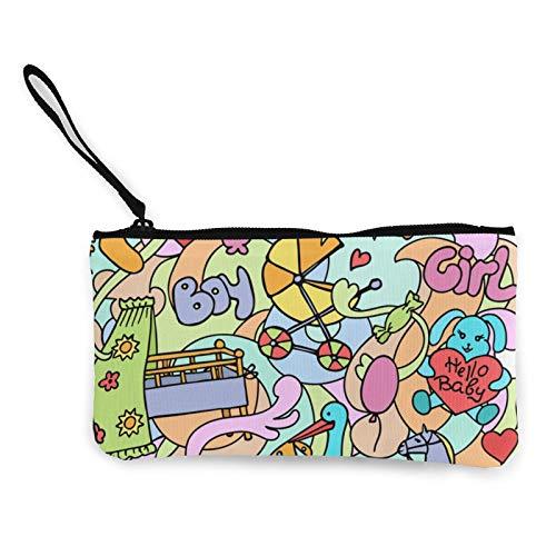 Doodle - Monedero de lona para bebé, bolso de cosméticos con cremallera, bolso pequeño para teléfono móvil con asa