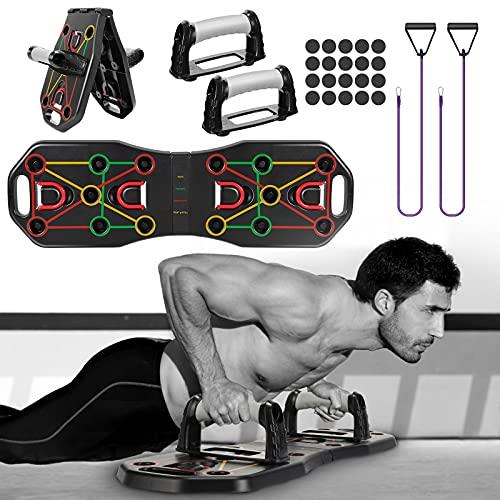 Fostoy Push Up Board, Pieghevole Push Up Rack Board Multifunzionale con Fasce di Resistenza e Maniglie per Uomo Donna Allenamento Fitness a Casa